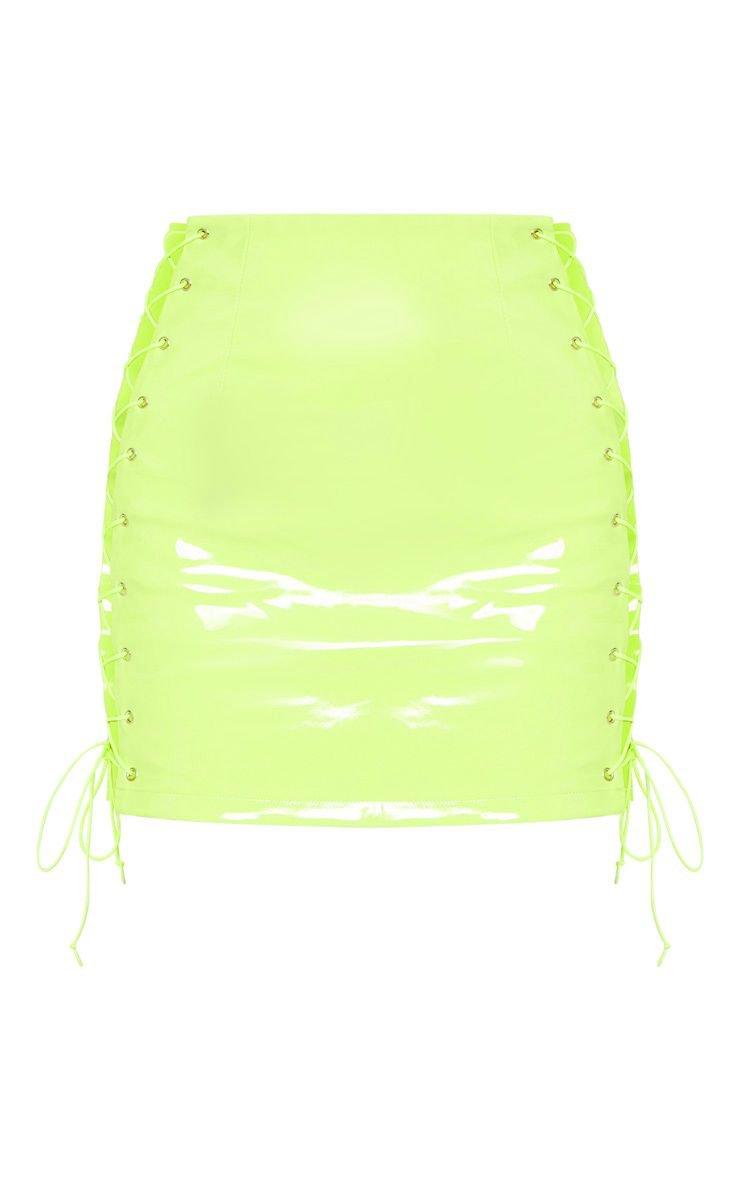 Neon Lime Vinyl Lace Up Side Mini Skirt