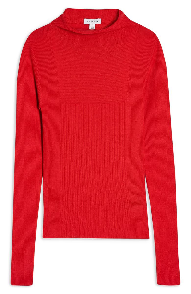 Topshop Mixed Rib Funnel Neck Sweater | Nordstrom