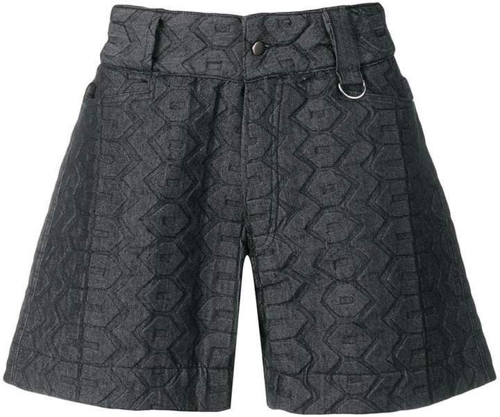 tire embroidered denim shorts