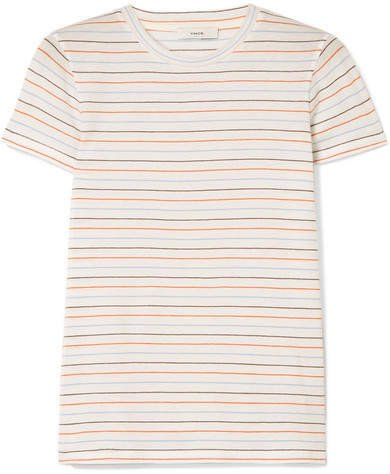 Striped Cotton-jersey T-shirt - Off-white