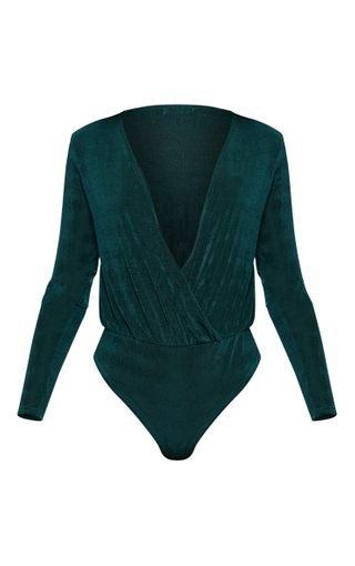 Emerald Slinky Plunge Bodysuit | Tops | PrettyLittleThing
