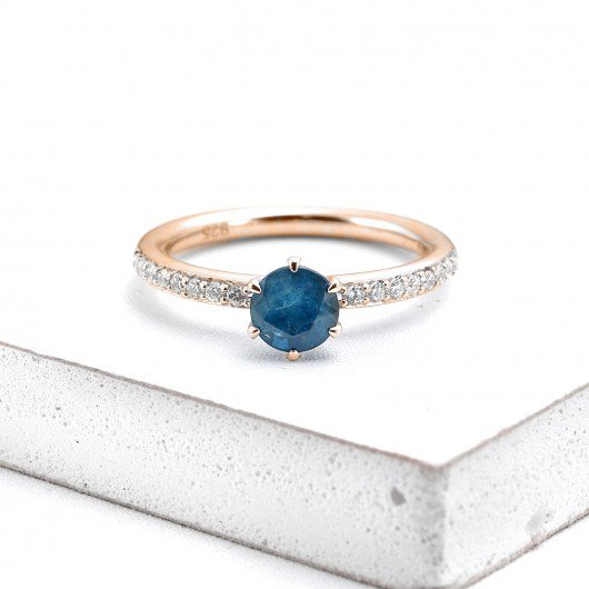 MADRID BLUE SAPPHIRE DIAMOND RING 1 CT in 14K GOLD | EQUALLI.COM