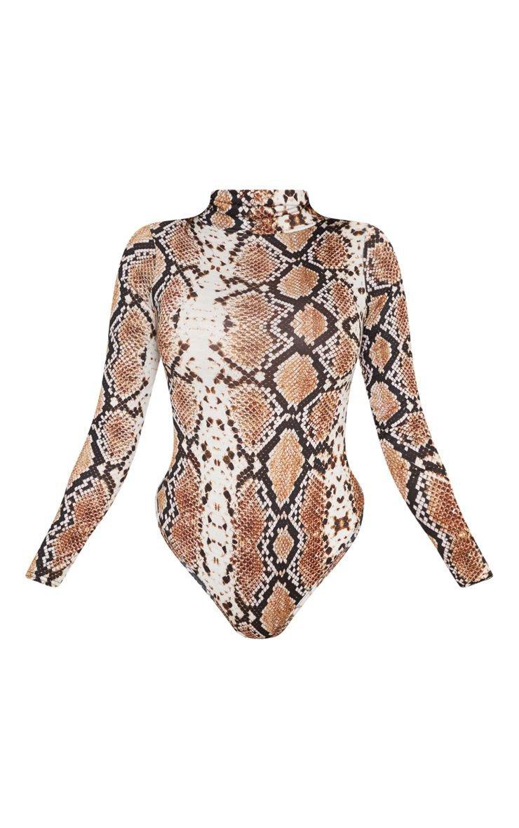 Tan Snake Print Roll Neck Bodysuit | Tops | PrettyLittleThing USA