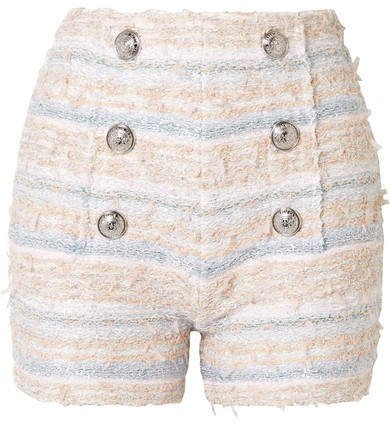 Button-embellished Tweed Shorts - Pink
