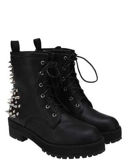 Punk Rock Styled Studded Combat Boots