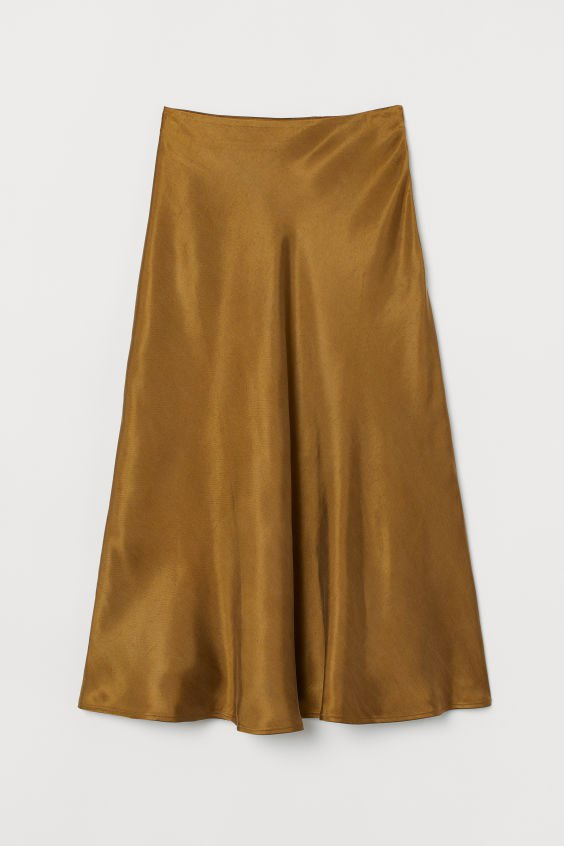 Calf-length Satin Skirt - Olive green - Ladies | H&M US