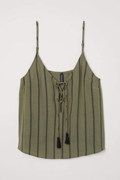 Camisole Top with Lacing - Green