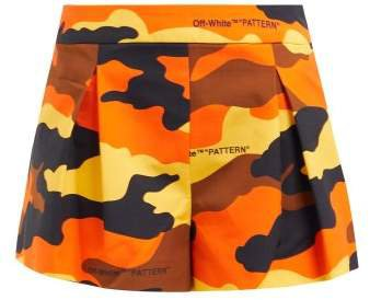 Off White Camouflage Print Pleated Cotton Shorts - Womens - Brown Multi
