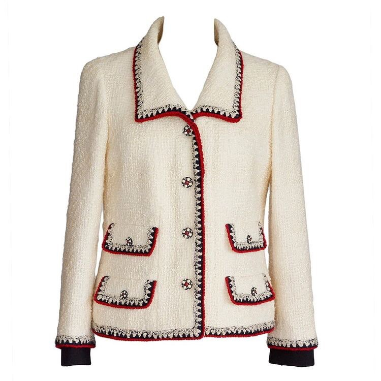CHANEL jacket Important winter white boucle red and blue trim fits 8 MINT