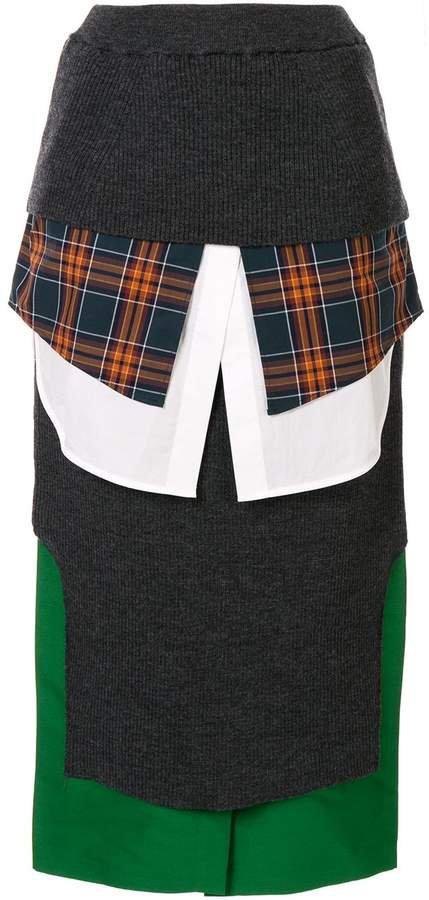 high-waisted panelled pencil skirt
