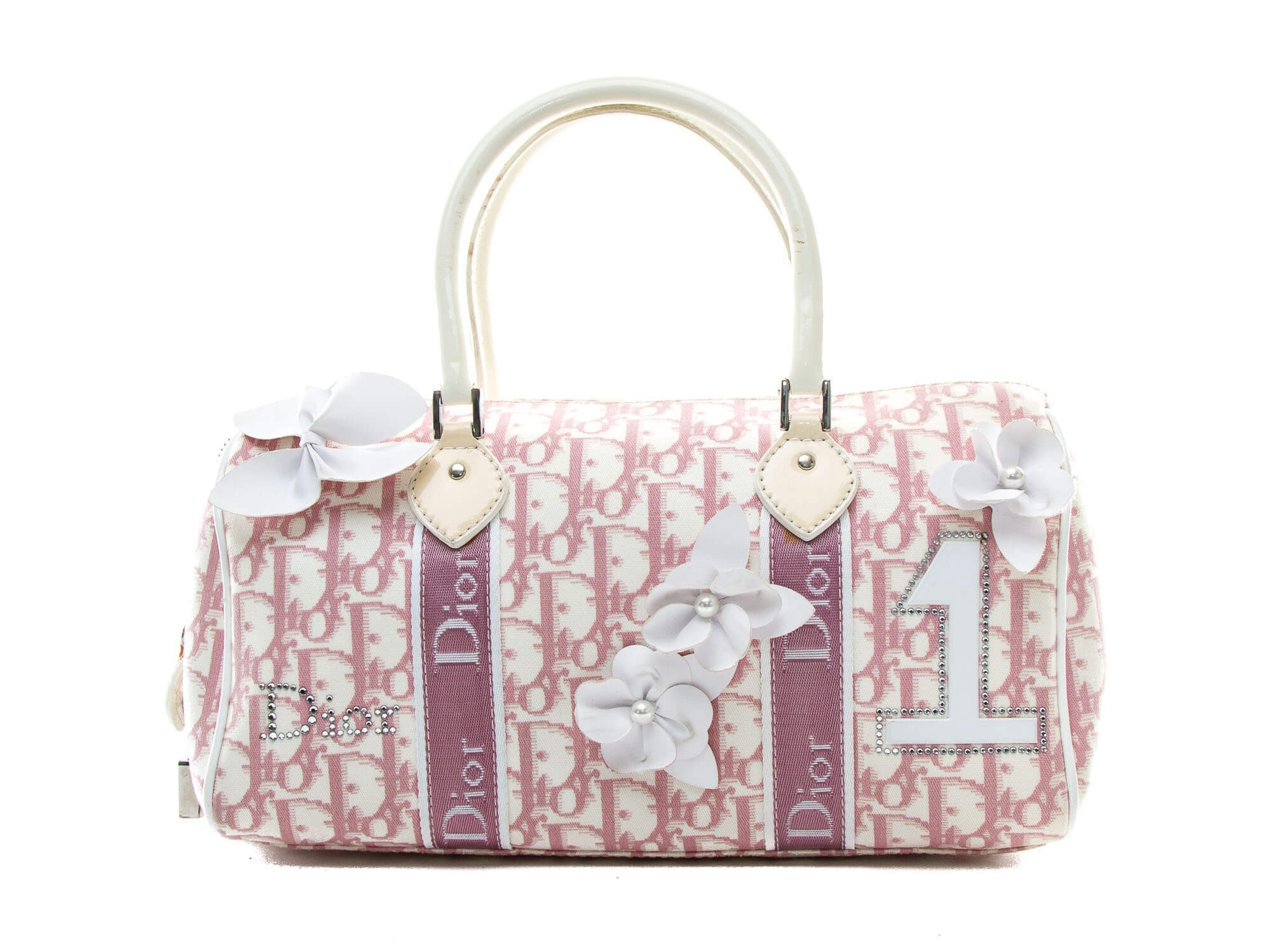 Authentic Christian Dior Pink Logo Canvas Girly Flowers Boston Bag | Connect Japan Luxury
