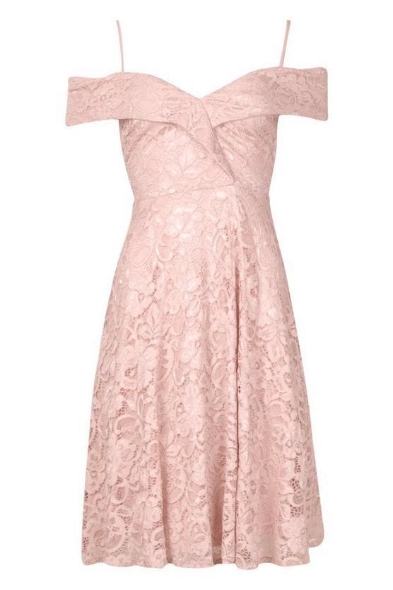 Lace Cold Shoulder Midi Skater Dress | Boohoo pink
