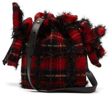 Lurex Wool Tartan Shoulder Bag - Womens - Black Red
