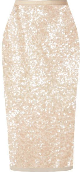 Sequined Tulle Midi Skirt - Beige