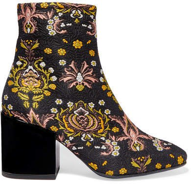 Floral-jacquard Ankle Boots - Black