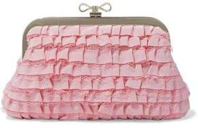 Red(V) Red(v) Lace-trimmed Ruffled Faille Clutch