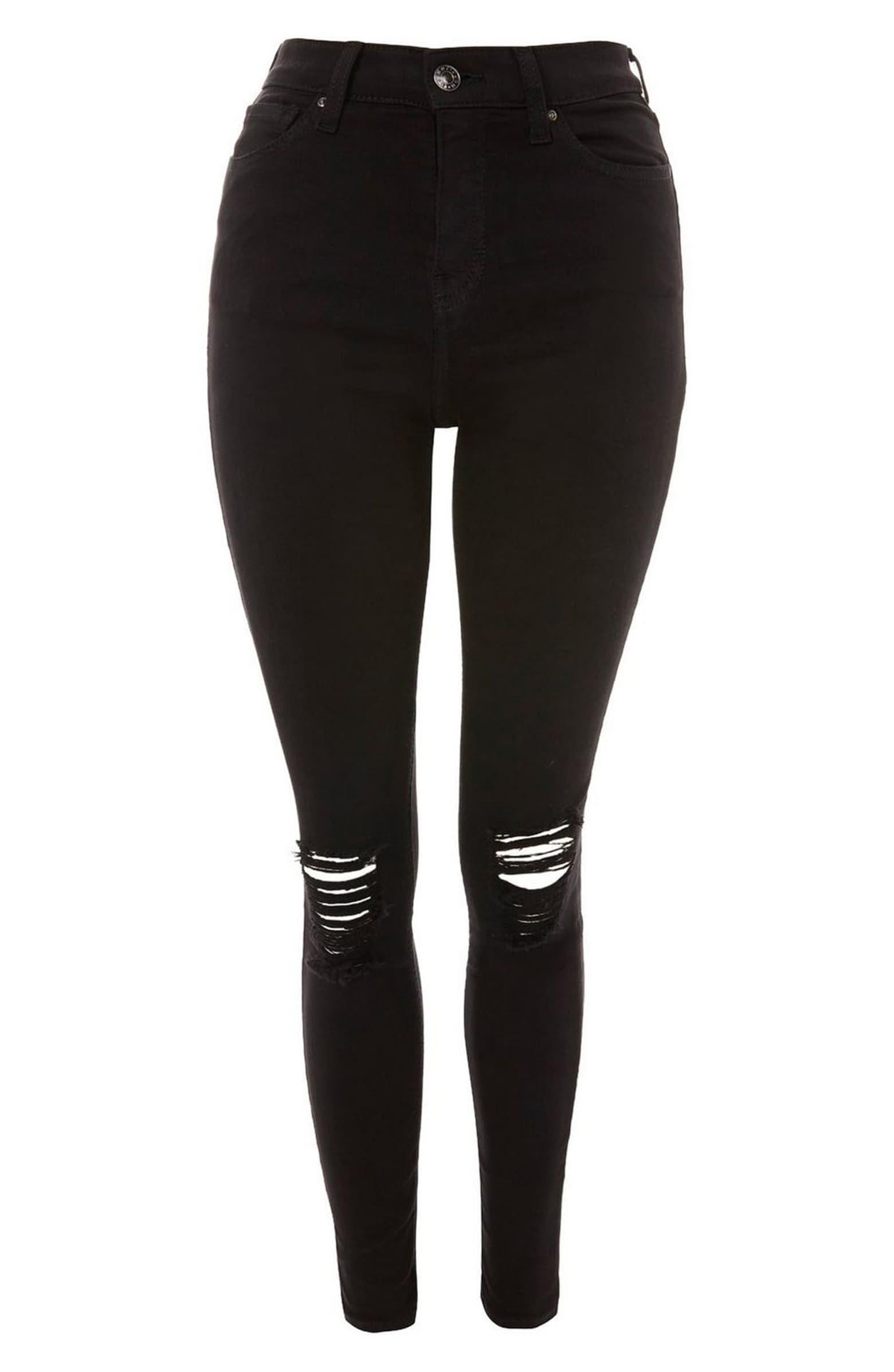 Topshop Jamie High Waist Ripped Black Jeans (Regular & Petite) | Nordstrom