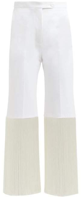 Fringed Cotton Blend Trousers - Womens - White