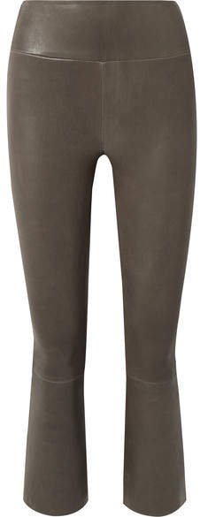 Cropped Leather Flared Pants - Army green