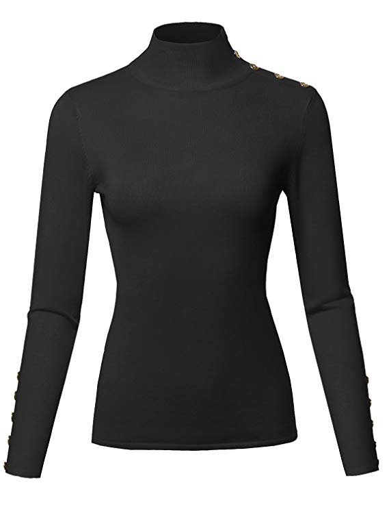 Awesome21 Casual Basic Gold Button Soft Long Sleeve Mock Neck Knit Sweater Black M at Amazon Women's Clothing store:
