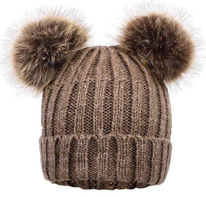 Arctic Paw Women Winter Double Ears Pompom Beanie Khaki Hat Coffee Ball at Amazon Women's Clothing store