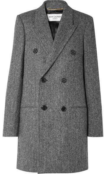 Double-breasted Herringbone Wool Coat - Gray