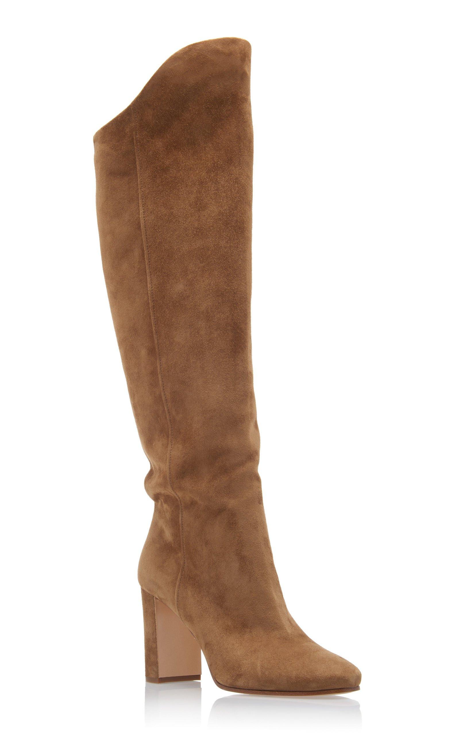 Suede Knee-High Boots by Prada | Moda Operandi