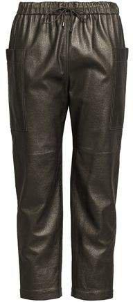 Cropped Metallic Leather Straight-leg Pants