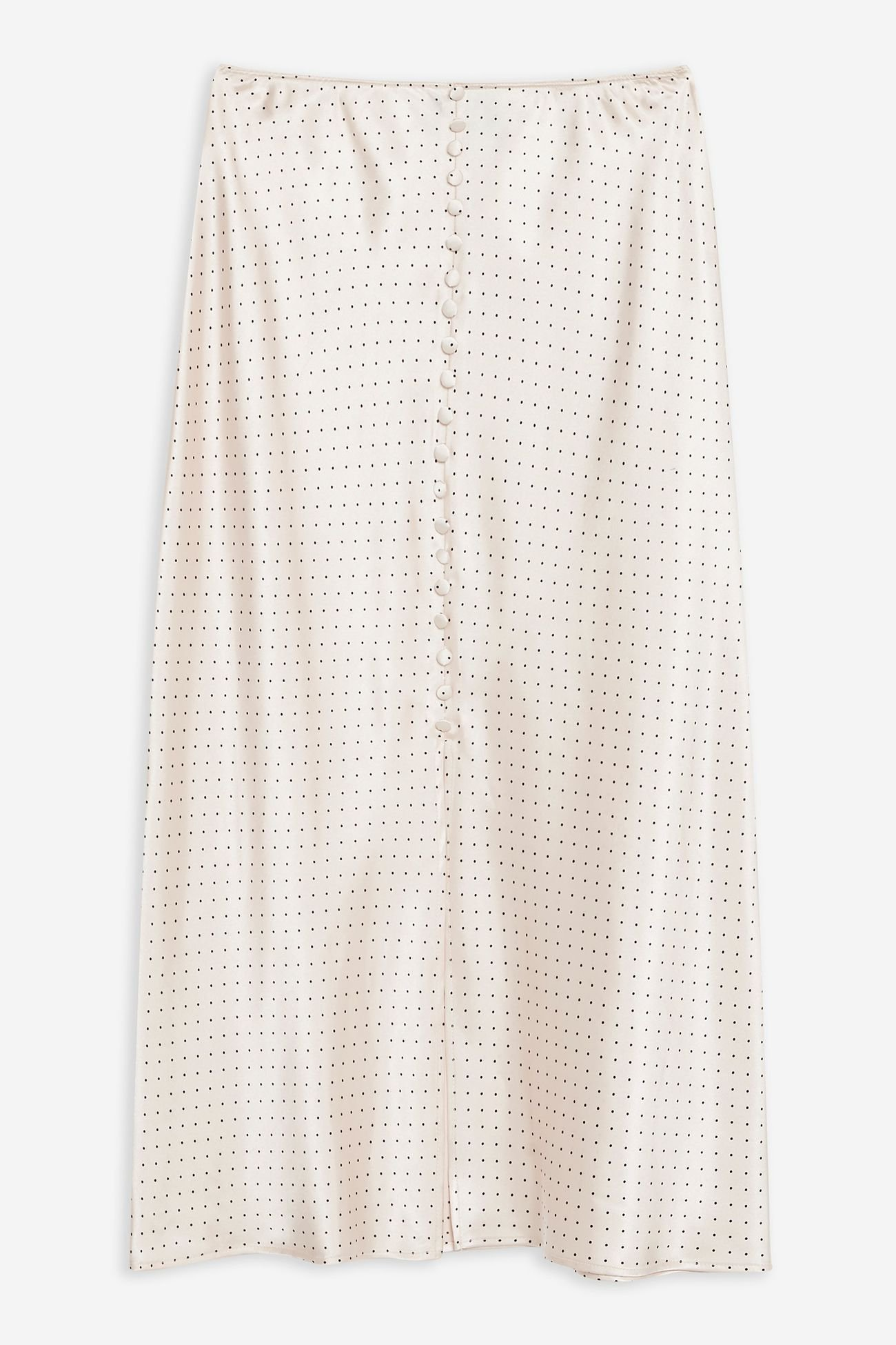 Nude Spot Button Satin Bias Skirt | Topshop