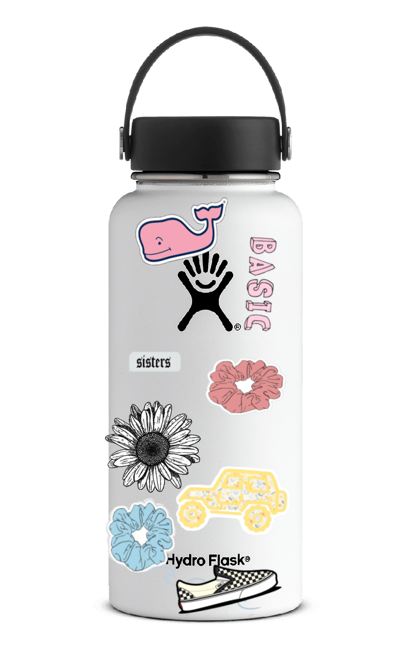 hydroflask with stickers