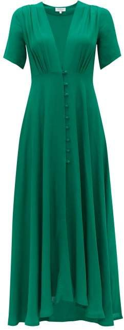 Carolina Gathered Cady Midi Dress - Womens - Green