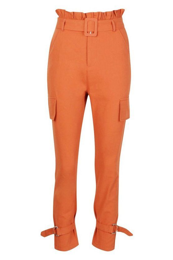 Buckle Ankle Pocket Side Cargo Trousers | Boohoo