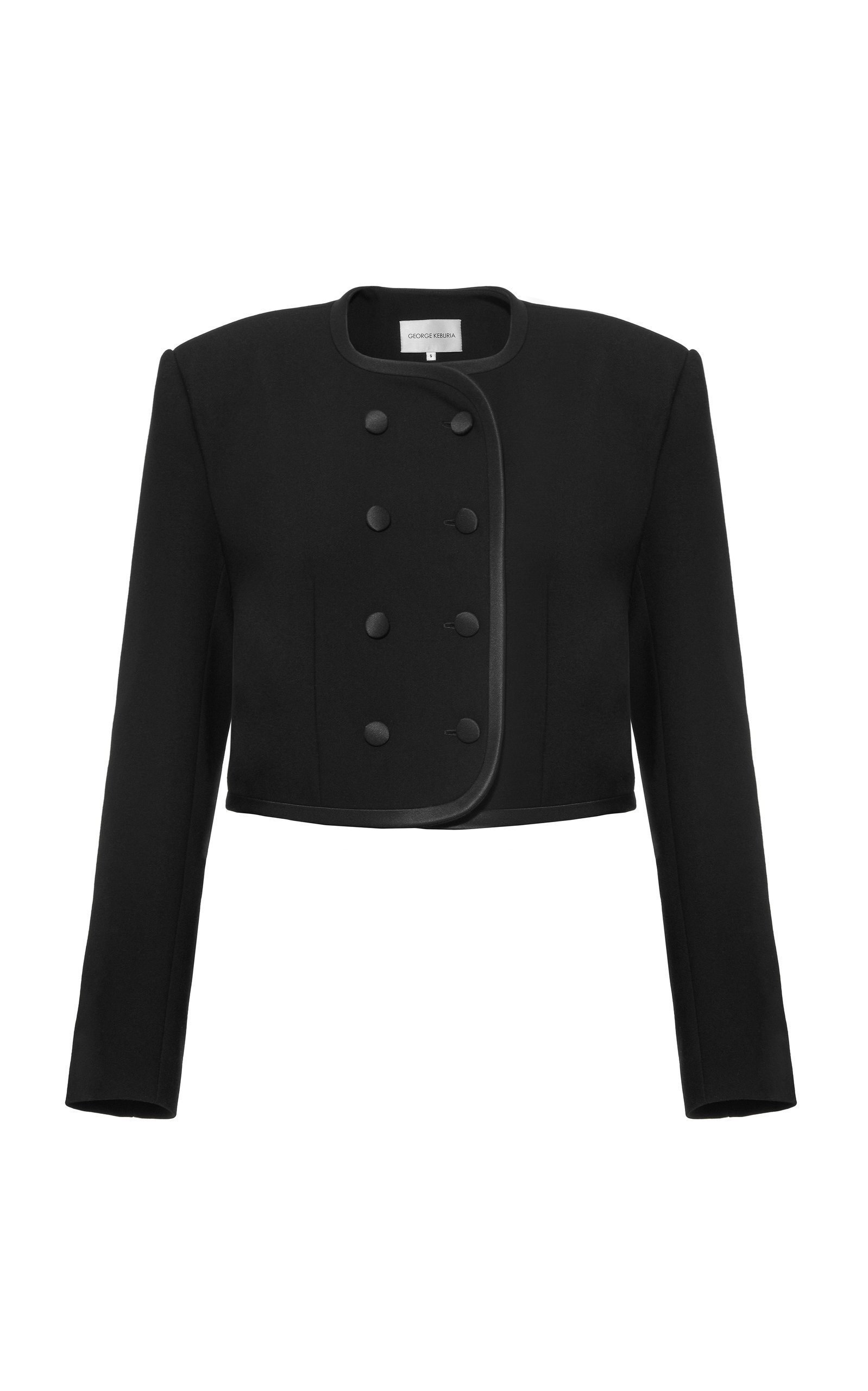 George Keburia Double-Breasted Cropped Cady Blazer Size: L