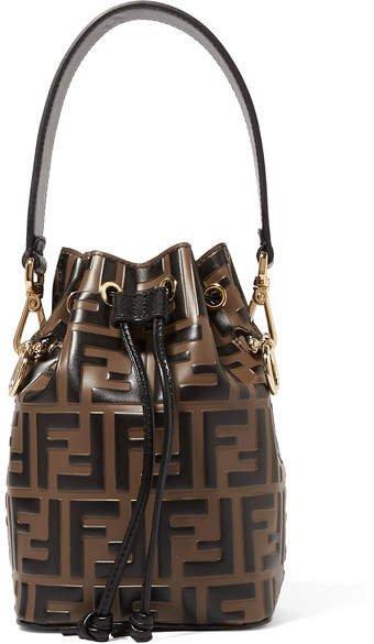 Mon Trésor Mini Embossed Leather Bucket Bag - Brown