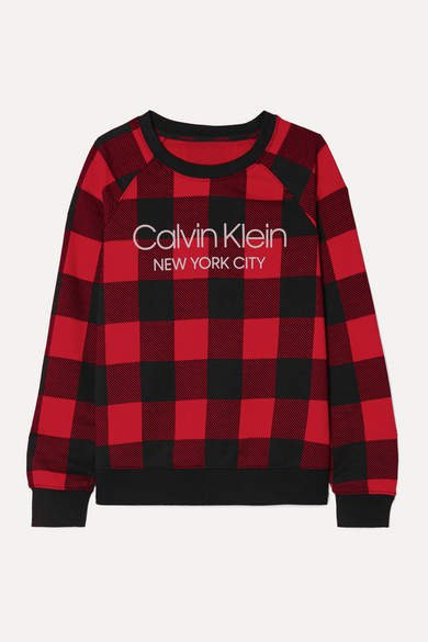 Printed Checked Cotton-blend Jersey Sweatshirt - Red