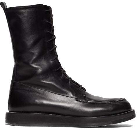 Patty Lace Up Leather Combat Boots - Womens - Black