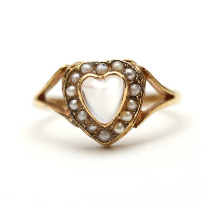 10k Victorian Moonstone Heart Ring | Etsy