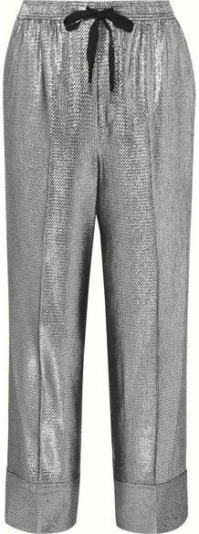 Lurex Straight-leg Pants - Silver