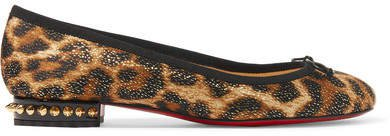 La Massine Spiked Leopard-print Satin And Leather Ballet Flats - Leopard print