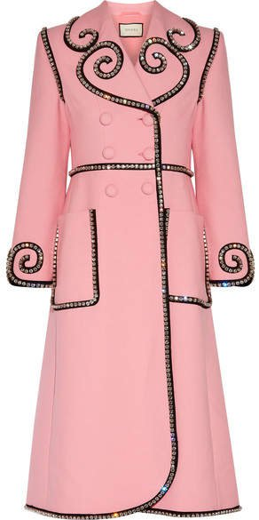 Swarovski Crystal-embellished Wool Coat - Baby pink