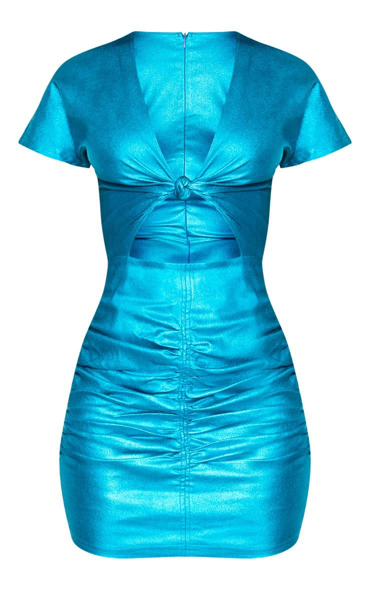 Blue Metallic Cut Out Ruched Bodycon Dress   PrettyLittleThing USA