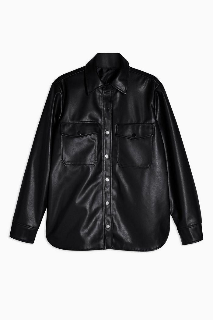 Black Faux Leather PU Oversized Shirt | Topshop