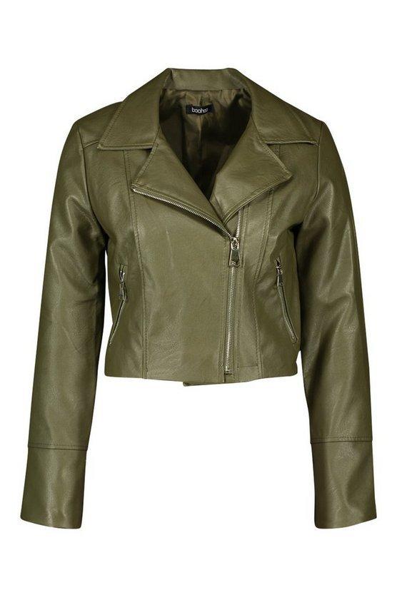 Faux Leather Biker Jacket   Boohoo green