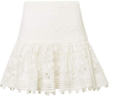 Corsage Pompom-embellished Guipure Lace And Swiss Dot-tulle Mini Skirt - Ivory