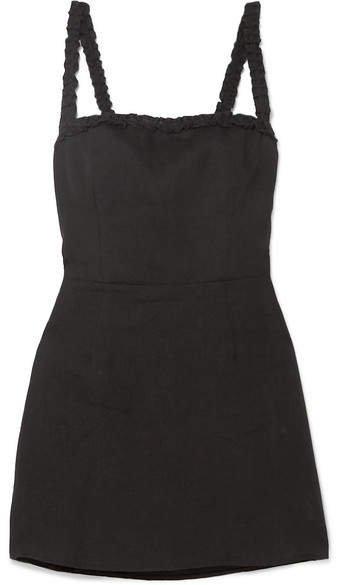 Janie Ruffled Linen Mini Dress - Black