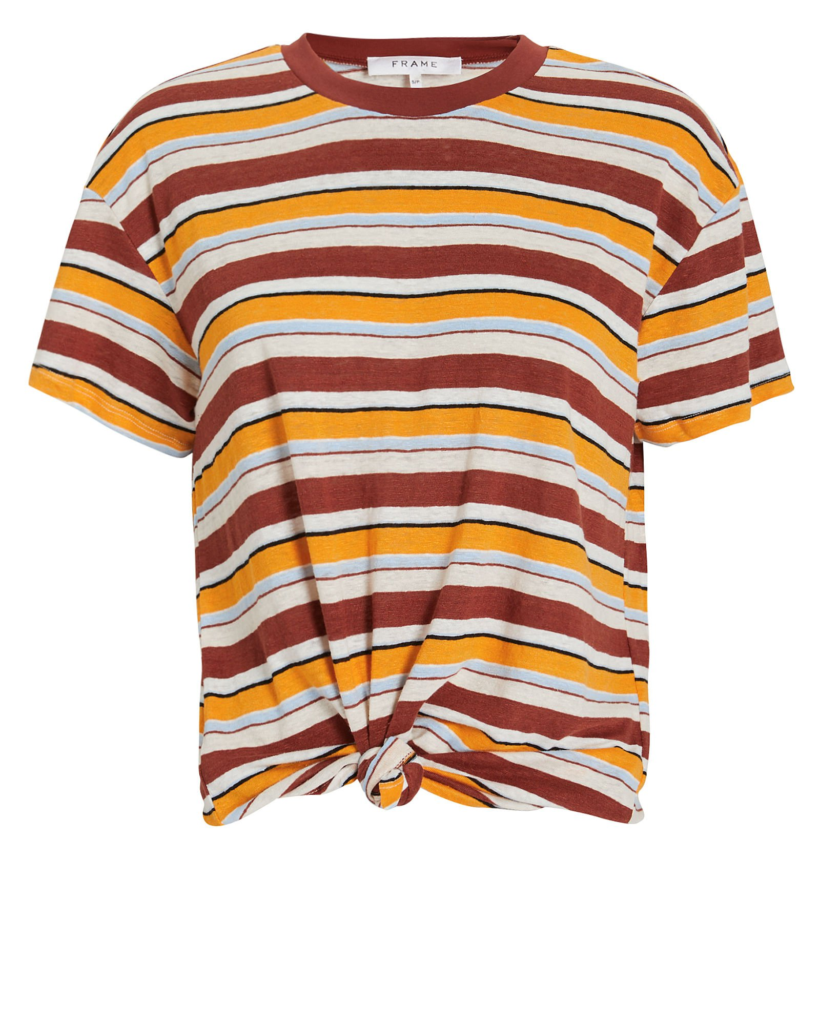 Striped Linen Knotted T-Shirt