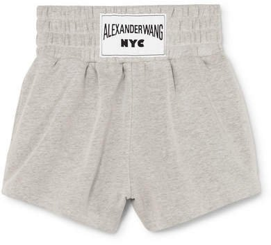 Appliquéd Cotton-blend Terry Shorts - Light gray