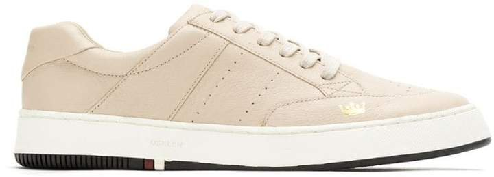 leather panelled sneakers