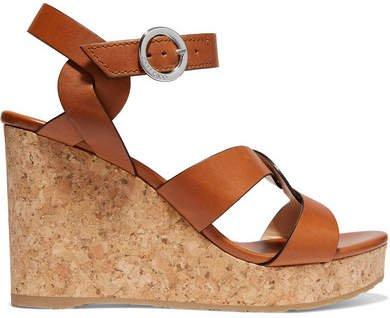 Aleili 100 Leather Wedge Sandals - Tan
