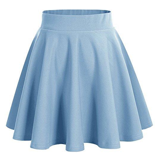 DRESSTELLS Women's Basic A-Line Versatile Stretchy Flared Skater Skirt at Amazon Women's Clothing store: